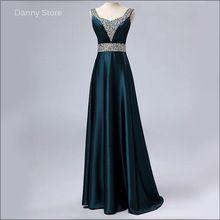Nuevo 2015 verde oscuro moda con cuello en v vestido Formal más tamaño partido rebordear vestido longo Robe De soirée Longue vestido De noche largo(China (Mainland))