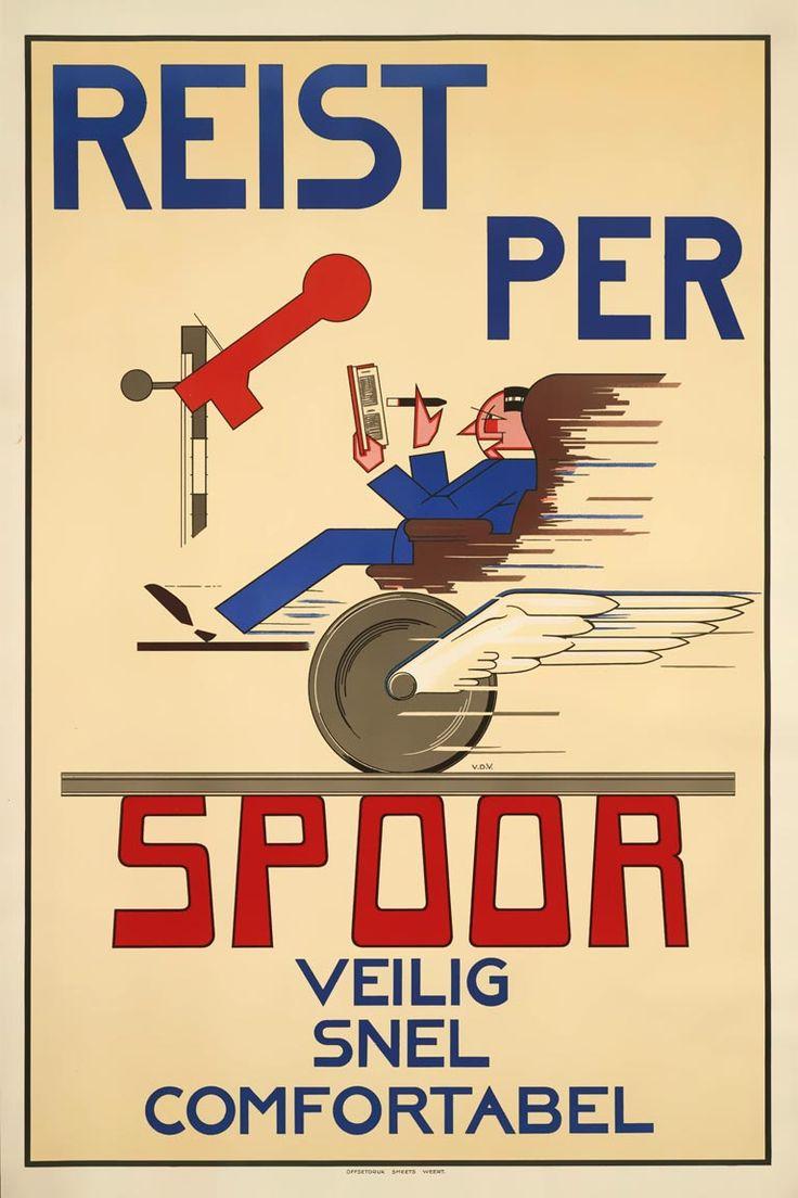 Vroeger was dit zo.......Affiche Reist per spoor, ca. 1932 | N.J. van de Vecht (Spoorwegmuseum Utrecht)