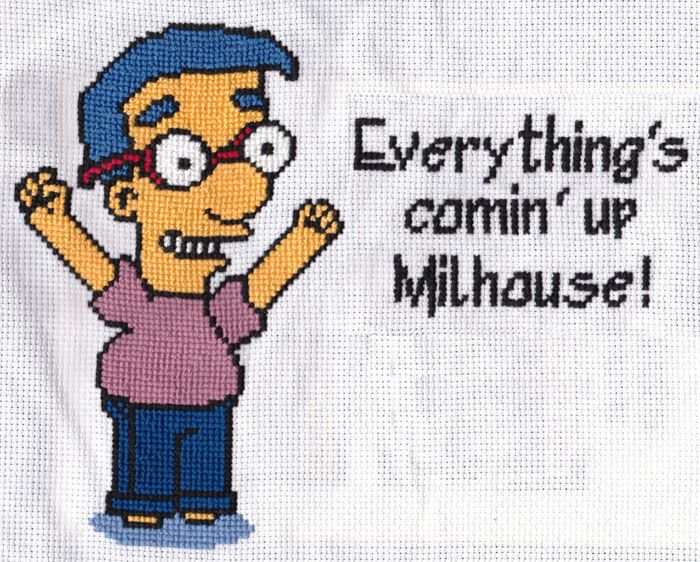 Milhouse from The Simpsons. An original cross-stitch piece designed from a still of the actual episode.