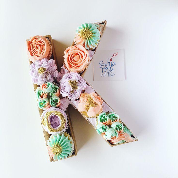 Floral Monogram Cupcakes concept & design by Sophia Mya Cupcakes