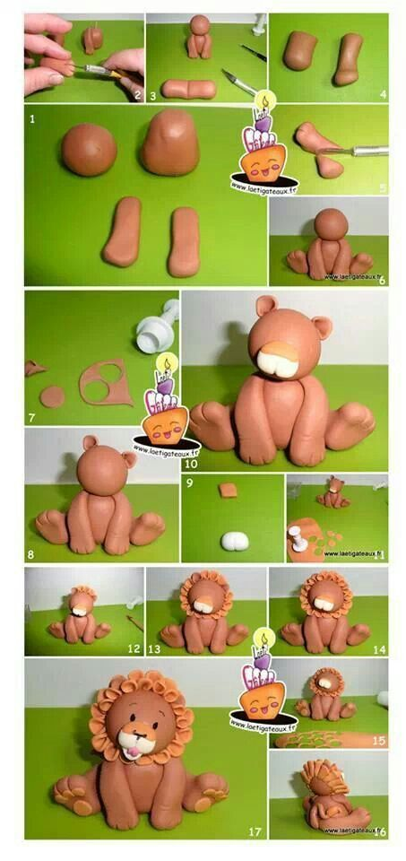 fondant animals tutorial pinterest | Fondant lion tutorial