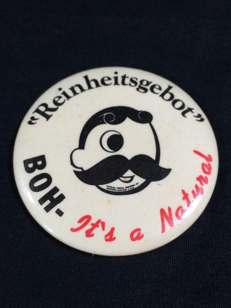 National Bohemian Beer Pinback Button Vintage Baltimore Maryland