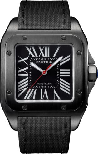 Santos 100 Carbon watch Large model, steel, leather $7,600
