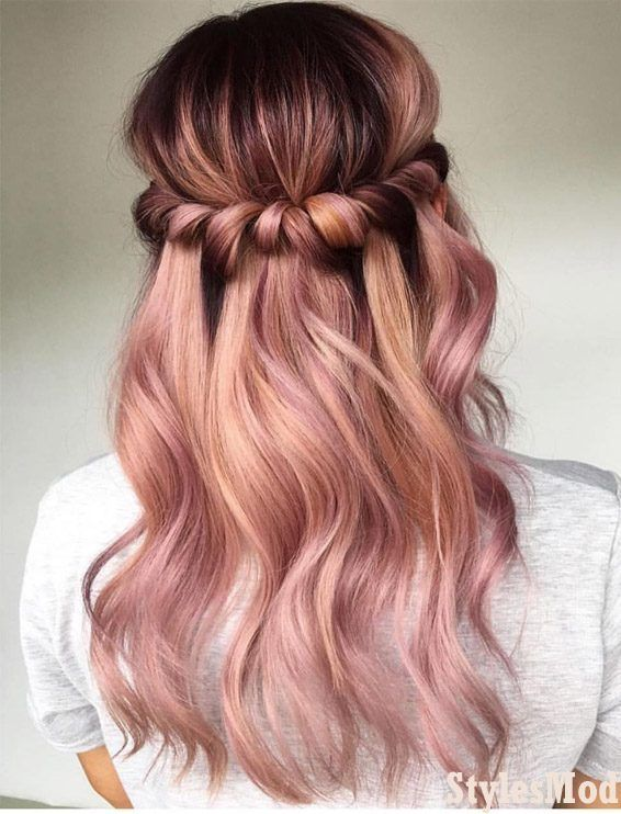 Awesome Half Up Pink Hairstyle Hair Colors For 2019 Stylesmod Hair Styles Hair Color Rose Gold Long Hair Styles
