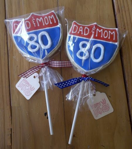 Colorful Cookies On A Stick All Wrapped Up For 80th