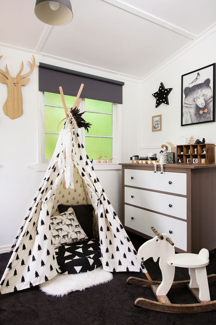 Boy's bedroom from monochrome makeover of a classic Queenslander. Photo: Elouise Van Riet-Gray | Story: homes+