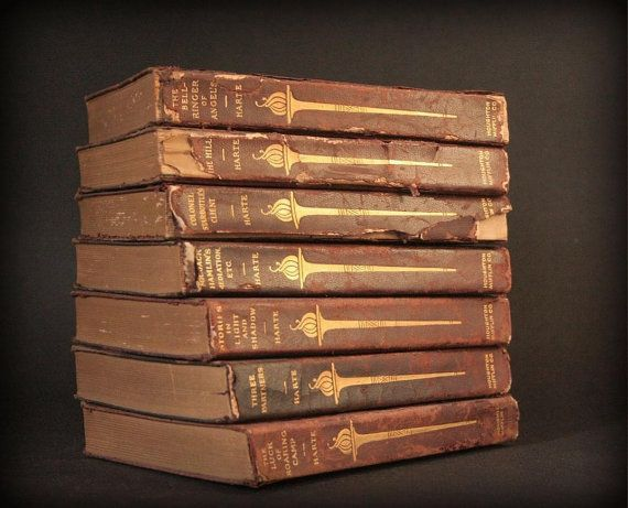 Antique book set, Bret Harte, leather books.