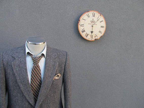 1980s Herringbone Tweed Suit Jacket 42R / Vintage Gray Sports