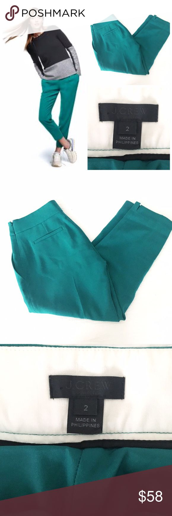 "j.crew collection curator pant Fluidly designed with an easy, draped silhouette, it's a great alternative to the standard work trouser. Poly, side zip, off seam pockets, notches at cuffs, machine wash. Very gently worn condition, only flaw to note is some mild piling on the left front pocket. Laid flat measures, 14.75"" across the waist, 20"" across the fullest part of the hip, 10"" rise, 24"" inseam. A great pair of pants for us hippier ladies. Runs large, fits closer to a size 4 IMO. J. Crew…"