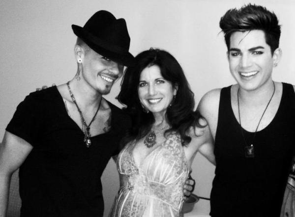 "Adam Lambert's photo: ""Look at these two hotties!! My man and my mama!"" | Sauli Koskinen, Leila Mitchel & Adam Lambert | Source: Twitter Adam Lambert"