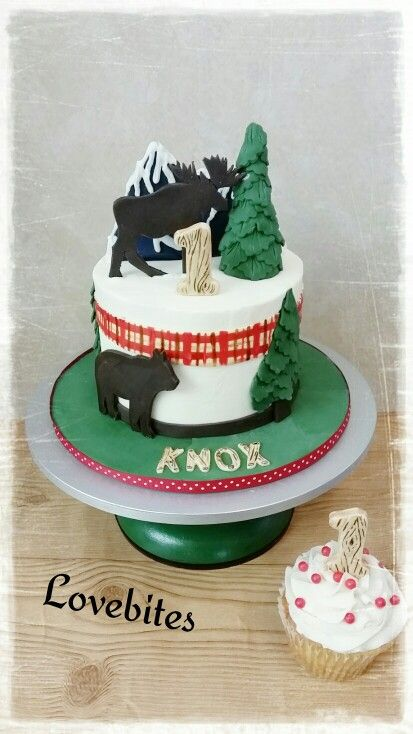 Forest moose bears theme 1st birthday cake and smash cupcake. Wood detailed number and name