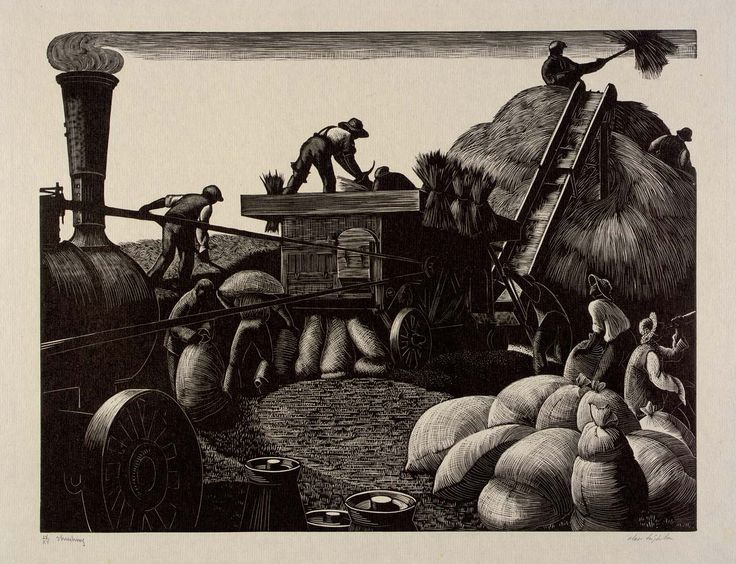 "Clare Leighton (1898-1989): ""Threshing"" from  ""The Farmer's Year"" written and illustrated by the artist in 1933. Eulogising life on an English farm as the menace of war with Germany threatened. 12 dramatic, full page wood engravings - one for each month. The book was an instant sell out running through 3 printings in 4 months. Clare Leighton emigrated to America where she became as famous as she had been in England."