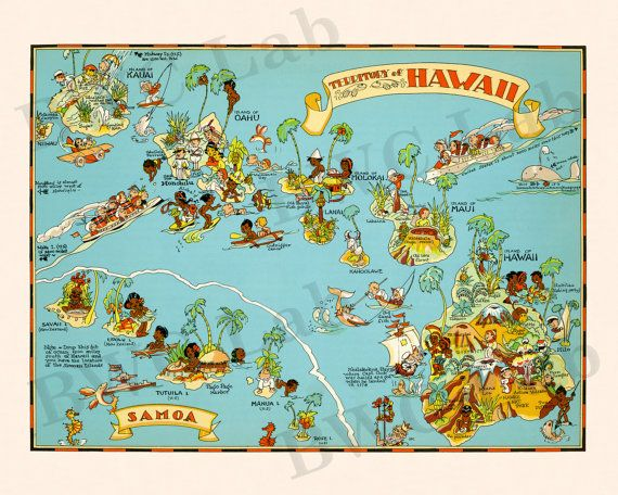 Pictorial Map of Hawaii colorful fun illustration of by BWCLab, $10.00
