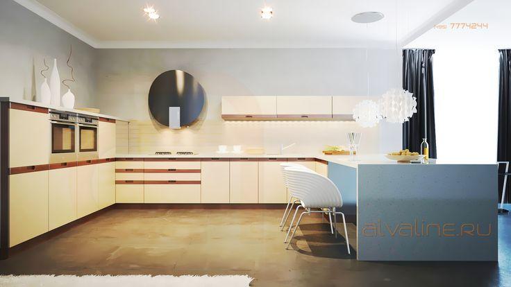 Кухня Вива, одна из первых моделей серии кухни без ручек от Альва