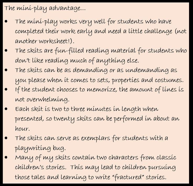 The mini-play advantage...why I write skits for children