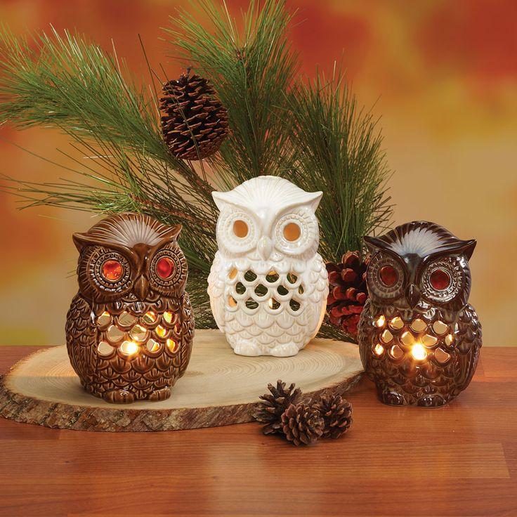 owls: Tea Light Candles, Birches Ceramic, Candle Holders, Candleholders, Owl Obsession, Ceramic Owl, Owls, Tea Lights