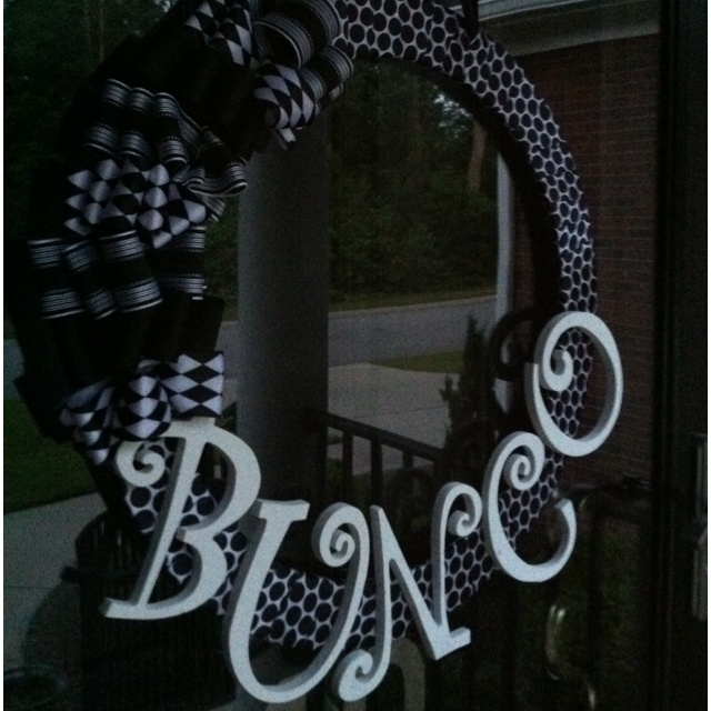 Super easy wreath for Bunco night! It took me about 20 minutes to finish. Much cheaper than buying a wreath :) I will be making this!!