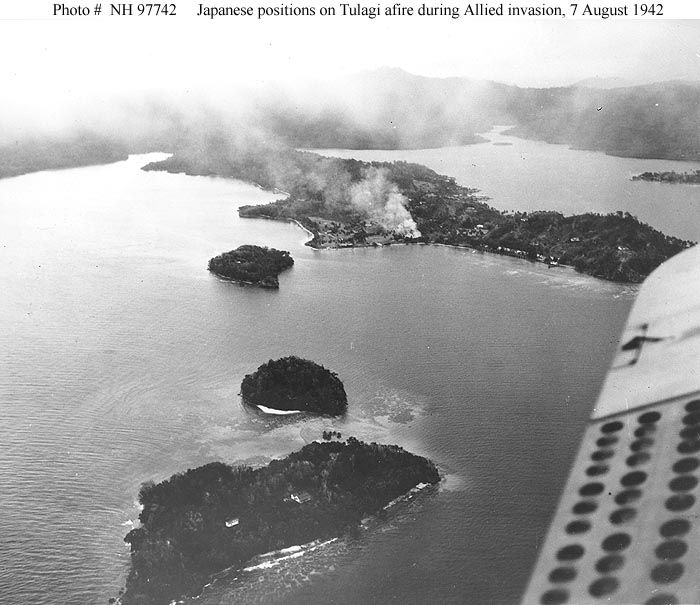 The Guadalcanal campaign was fought between August 7, 1942, and February 7, 1943, in the Pacific theater of World War II. This campaign, fought on the ground, at sea, and in the air, pitted Allied forces against Imperial Japanese forces, and was a decisive, strategically significant campaign of World War II. The fighting took place on and around the island of Guadalcanal in the southern Solomon Islands and was the first major offensive launched by Allied forces against the Empire of Japan