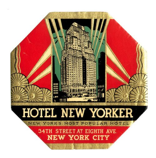 Label Vintage, Hotel New Yorker Luggage Label