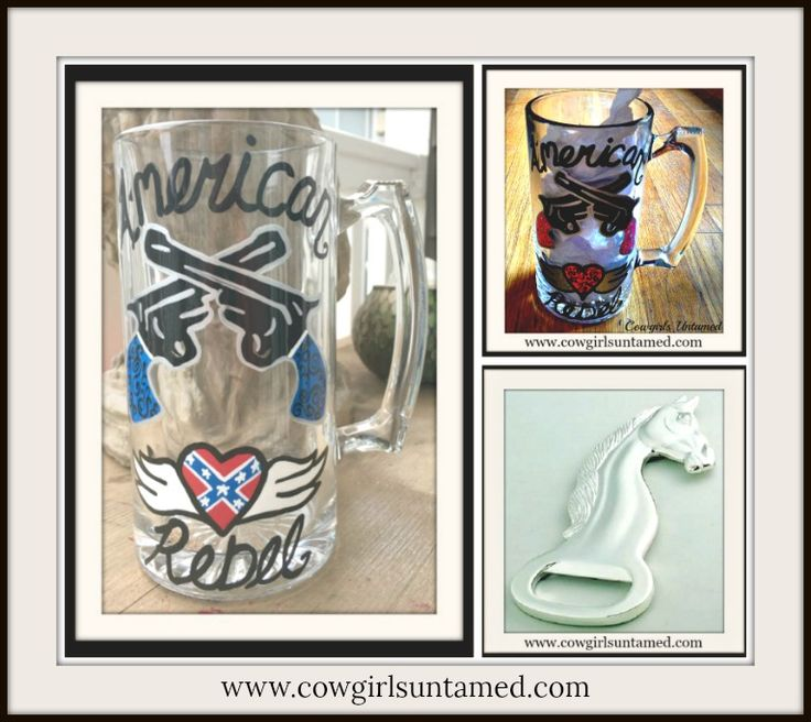 """SASSY COWGIRL DECOR Painted """"American Rebel"""" Black Blue and Red with Double Pistols and Winged Heart Western Glass Mug  #handpainted #handmade #beer #glass #mug #gift #wedding #cowgirl #redneck #country #western #sixshooter #pistol #gun #heart, #rebel #American #USA #flag #angelwings #tattoo #glassware #cowboy #style #boutique #shopping"""
