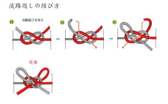 水引の結び方 Tie with mizuhiki 淡路返し結び