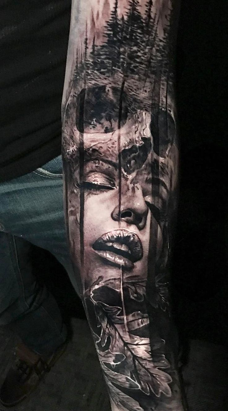 Beautiful Surrealist Double-Exposure Tattoos Mash Up People, Architecture & Nature