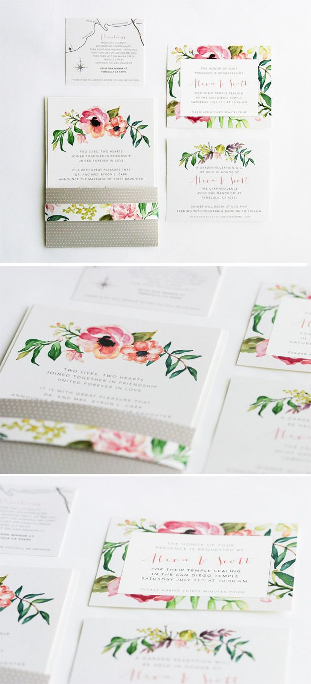 Floral Watercolor wedding invitations ideas. We did a envelopment that folds over 1/3 of the way up the invitation and th…