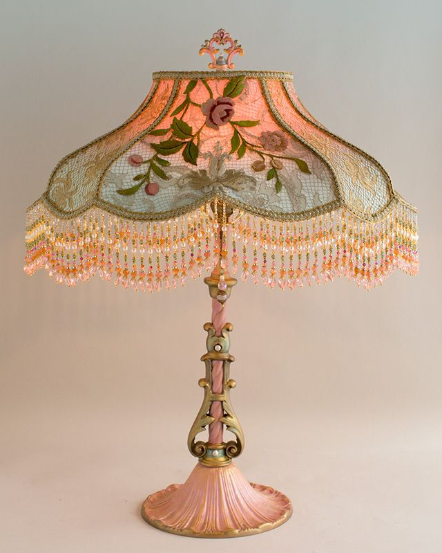 Rose & Crest style shade dyed pink to pale blue which is overlaid on all sides with beautiful antique silver and gold metallic laces, exquisite, embroidered vestment roses and cream silk French motifs.