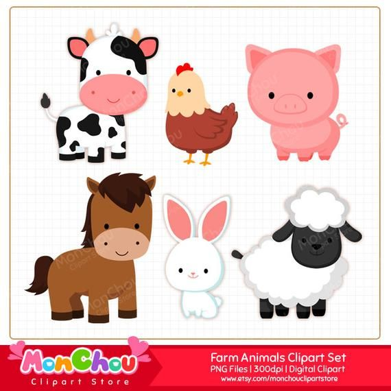 Farm Animals Clipart Clip Art For Commercial And Personal Use Animal Clipart Baby Farm Animals Farm Animals