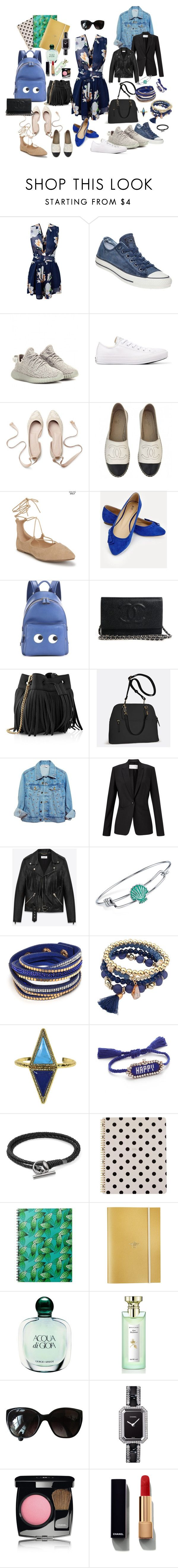 office set by veronic-s on Polyvore featuring Yves Saint Laurent, HUGO, adidas Originals, Chanel, Converse, JustFab, Aéropostale, Anya Hindmarch, Whistles and Avenue