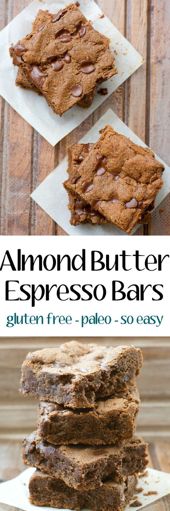 These Almond Butter Espresso Bars are packed with chocolate and coffee flavor! They are gluten free, paleo and ready in just 20 minutes!