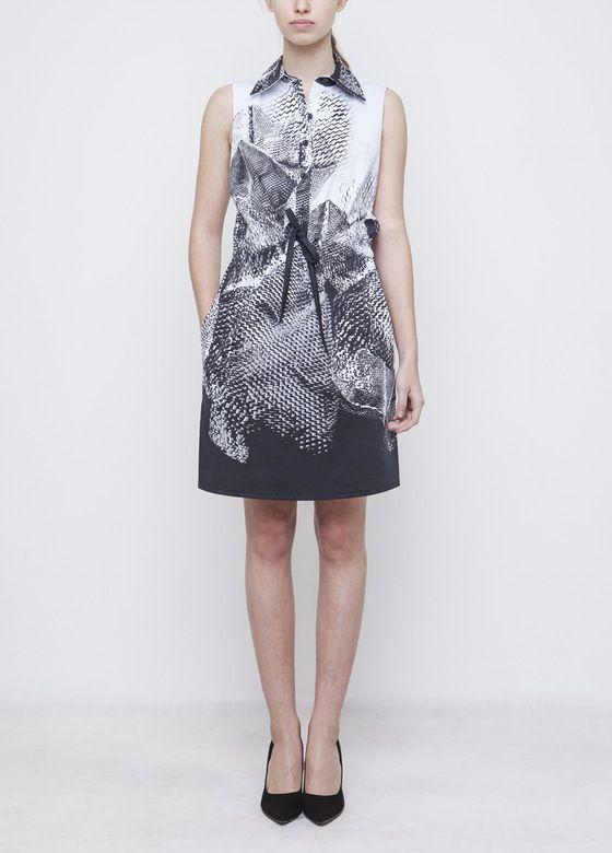 Image of Printed Shirt Dress