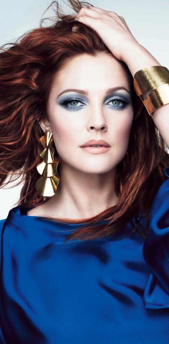 drews blue eye makeup & red hair- covergirl.