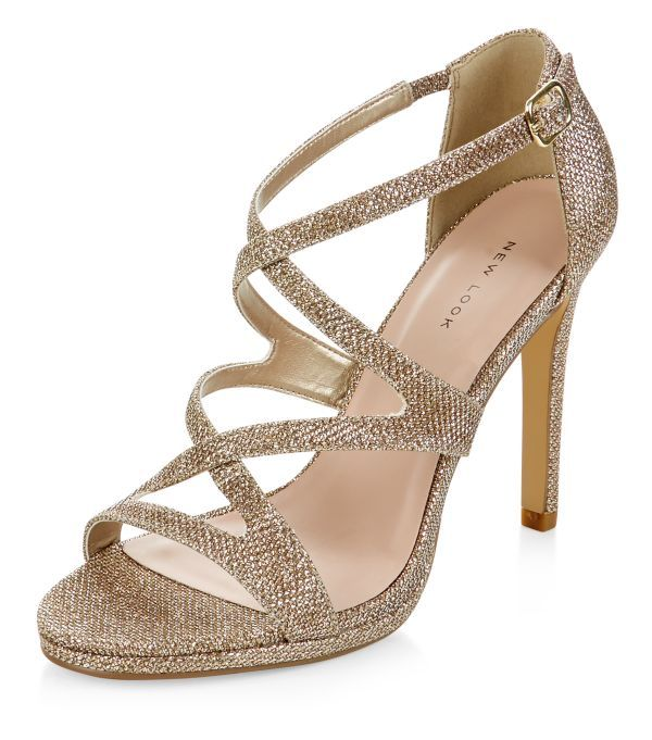 chaussures talons dor es paillettes avec brides new look bff wed pinterest shops. Black Bedroom Furniture Sets. Home Design Ideas