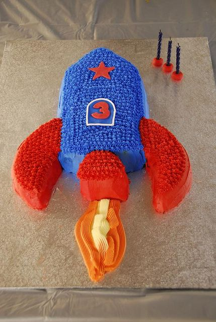 Rocket Cake.  This will go perfect with the rocket packs I made for the kids to wear.