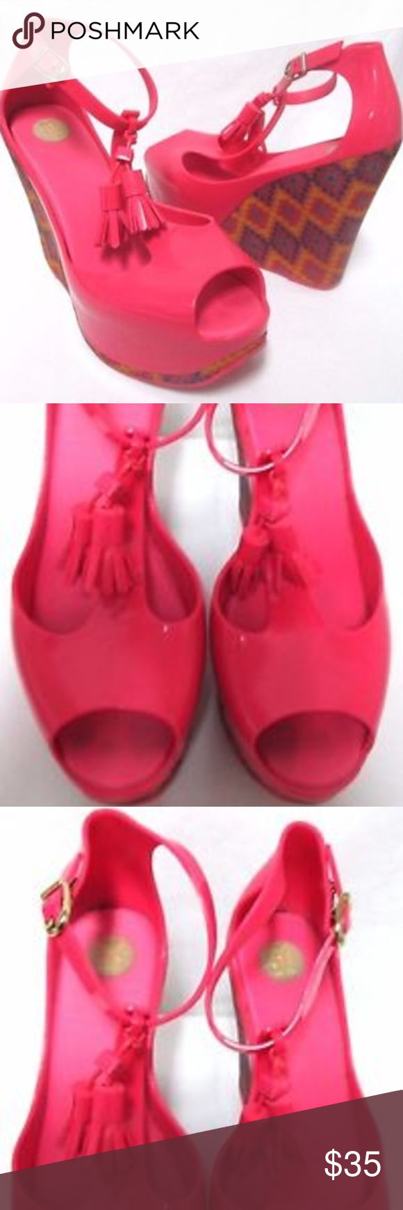 "Melissa pink wedge tassle peep toe heels Size Sz 8 Melissa shoes in excellent used condition. Size 37 Brazil or 8 U.S., heel is about 4.7"", front platform is about 1.5"". Pet and smoke free home. Melissa Shoes Sandals"