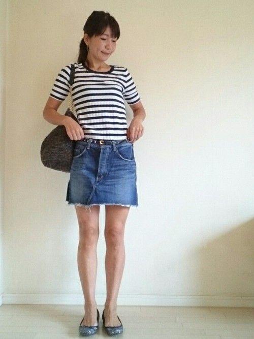 ミニスカート♪好き♡ 何歳になっても ミニスカートの似合う女性になりたいです😋 デニムスカートはジ