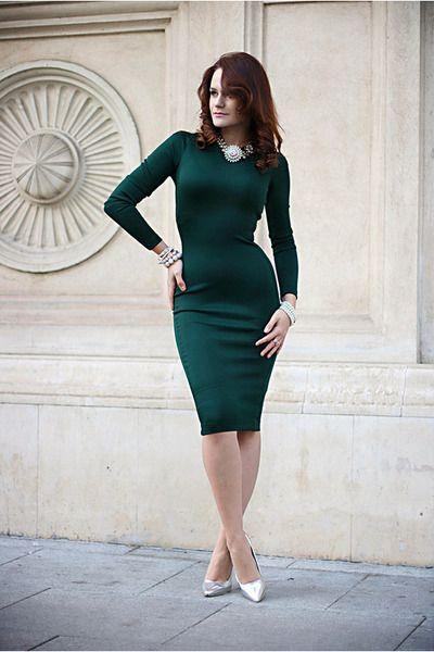 "beautiful dress, beautiful woman !   Forest Green Midi Zara Dresses, White Statement Zara Necklaces, Gold OASAP Watches | ""Miss Joan"" by Chaba"