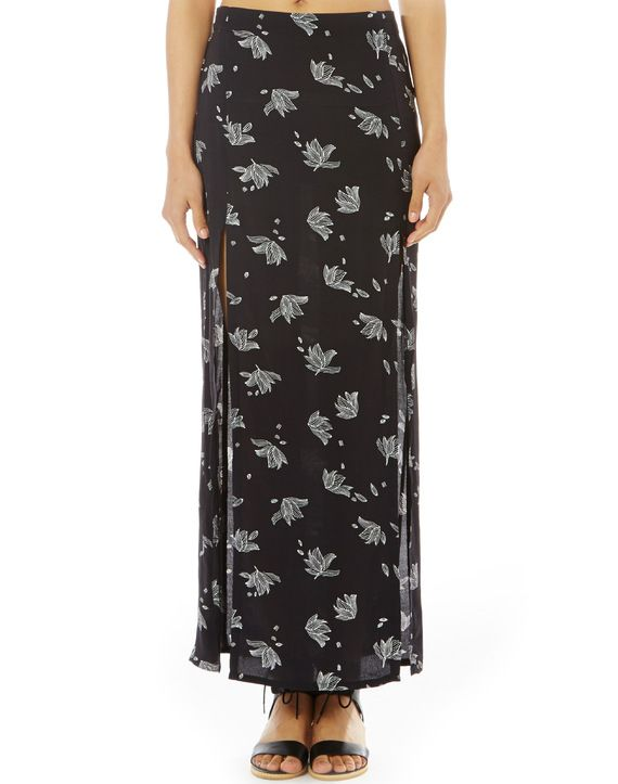 Print Side Split Maxi Skirt