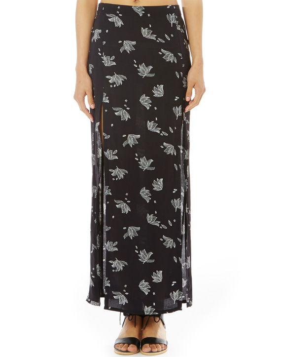 Print Side Split Maxi Skirt