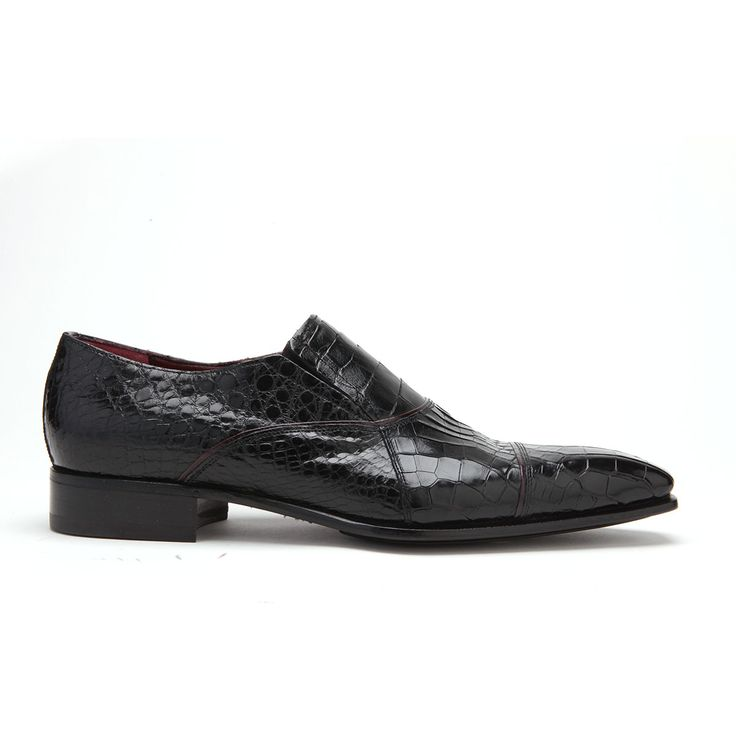 Caporicci Italian Mens Shoes Black Alligator Loafers ART202 (CAP1002)