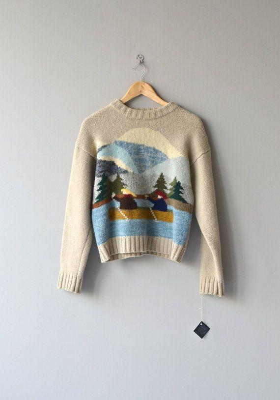 Two in a Canoe sweater vintage wool sweater by DearGolden