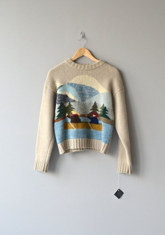 Two in a Canoe sweater • vintage wool sweater • novelty sweater: