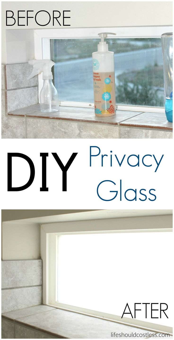 DIY Privacy Glass. It takes less than an hour and can easily be removed. {lifeshouldcostless.com}