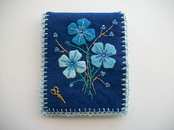 Blue Needle Book Felt Case with Flowers by HandcraftedorVintage, $26.00