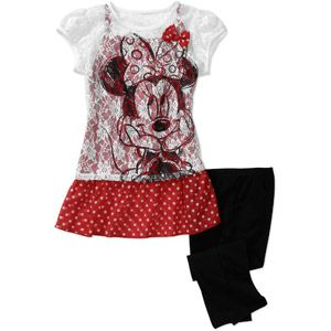 Dinsey Minnie Mouse Girls 2 Piece Tunic and Legging Set-$12.92 at walmart.com