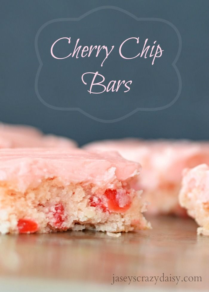 Cherry Chip Bars | Jasey's Crazy Daisy - These are AMAZING! Like the Cherry Chip Cake I remember from childhood, but all grown up and homemade! #cherrychip