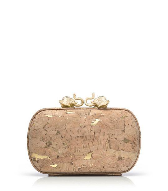Tory Burch Cork Kissing Elephant Minaudière : Women's Clutches & Evening Bags