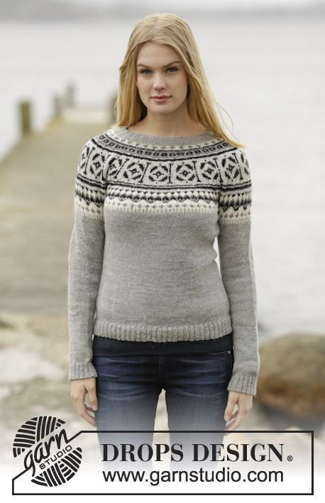"Knitted #DROPSDesign jumper with round yoke and Nordic pattern in ""Alpaca"". Pattern now online for free! #knitting"
