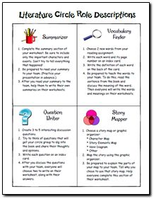 Worksheet Literature Circles Roles Worksheets 1000 ideas about literature circles on pinterest students circle role descriptions and other resources in laura candlers online file cabinet